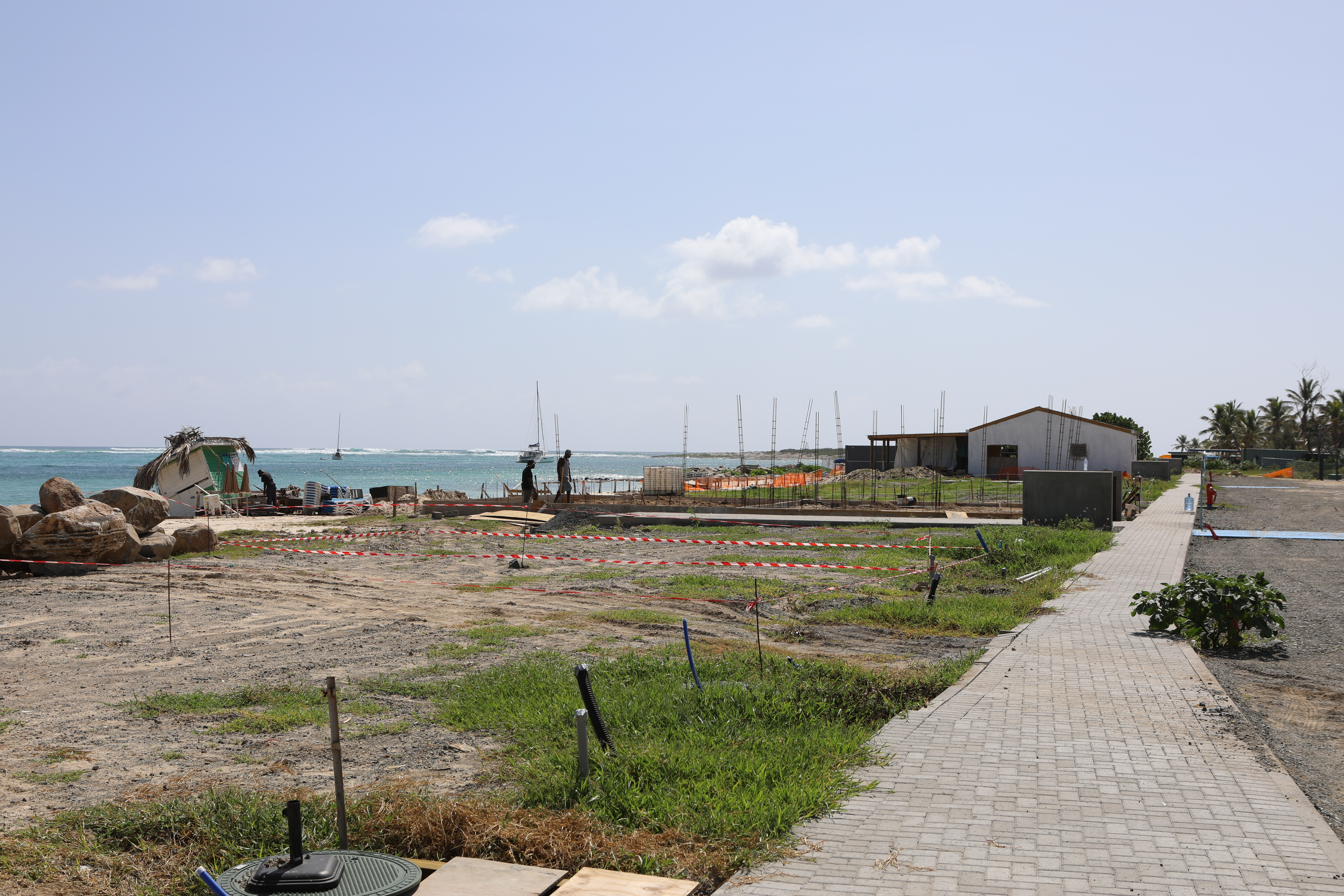 Construction of the new Tourist Carbets on Orient Bay Beach